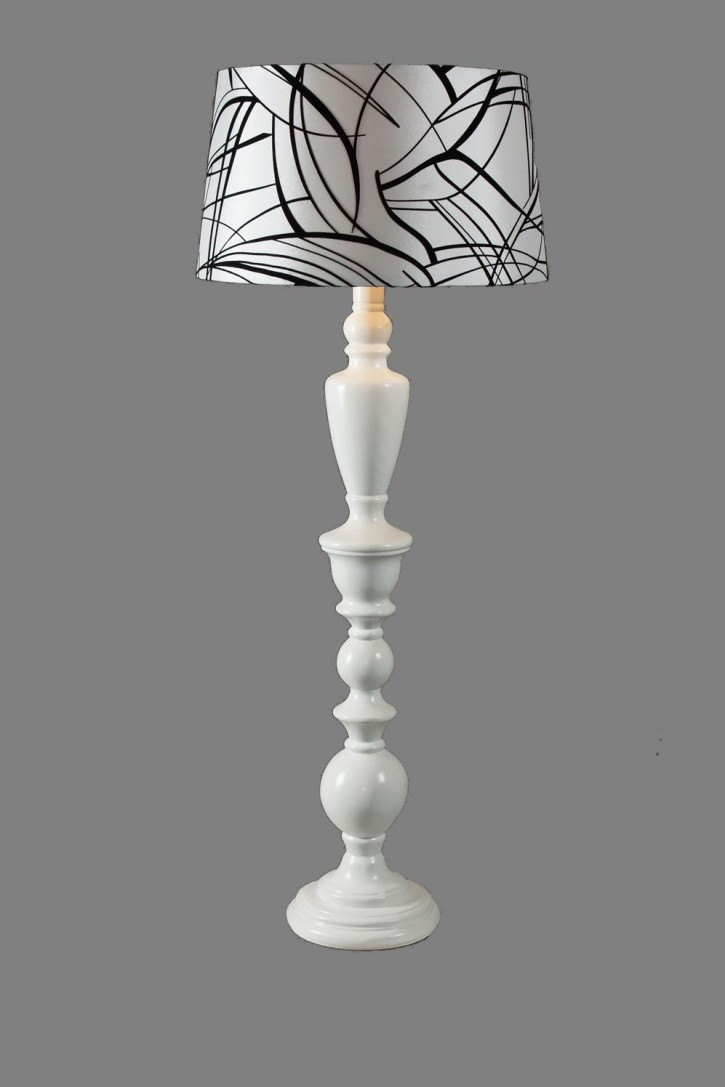 WHITE TABLE LAMP WITH A BLACK & WHITE SHADE -
