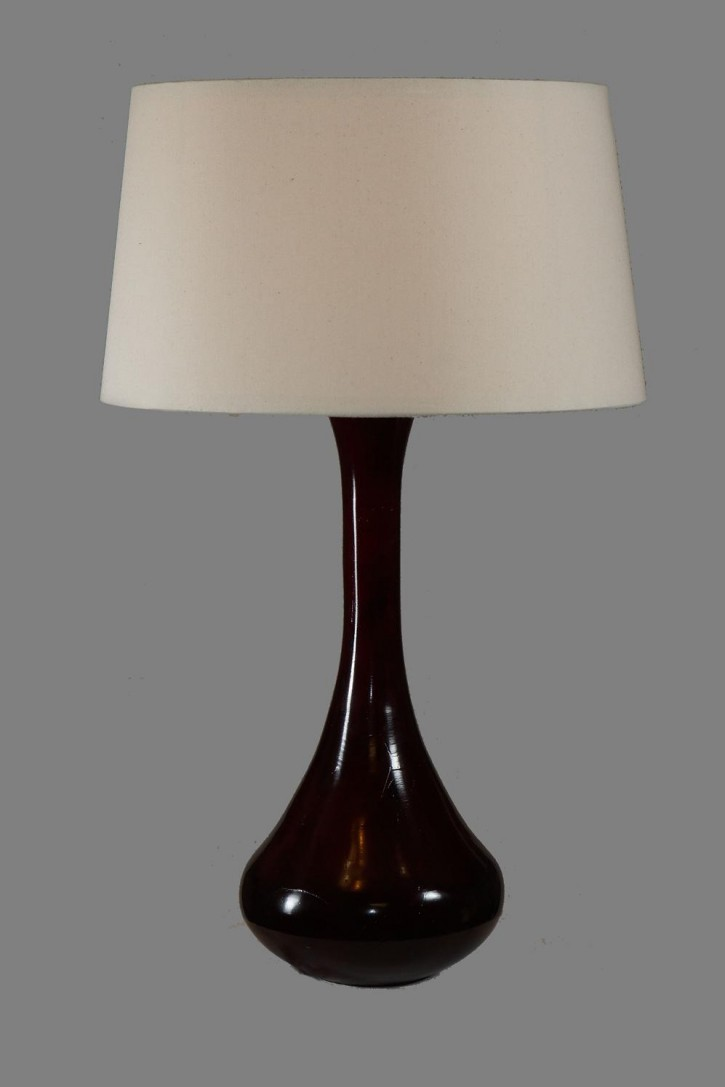 wood stained table lamp seed cloth shade table lamps. Black Bedroom Furniture Sets. Home Design Ideas