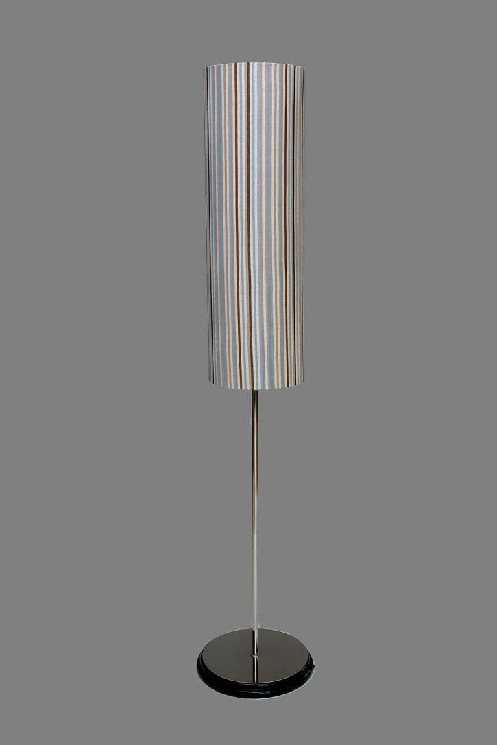 Blue beige striped cylinder floor lamps for Paper cylinder floor lamp