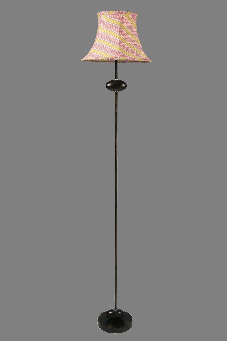 Pink striped shade on riverside base floor lamps for Floor lamp with pink shade