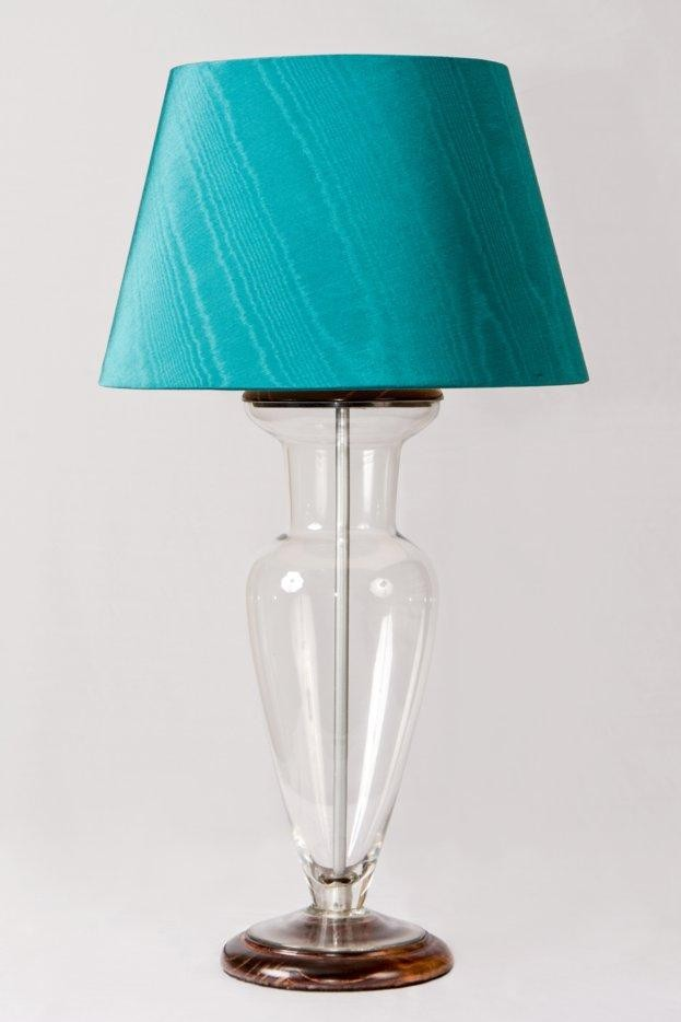 glass table lamp with silk shade table lamps. Black Bedroom Furniture Sets. Home Design Ideas