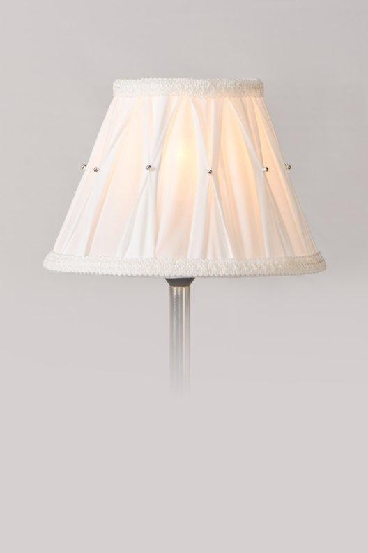 Box Pleated White Lamp Shade With Silver Beads