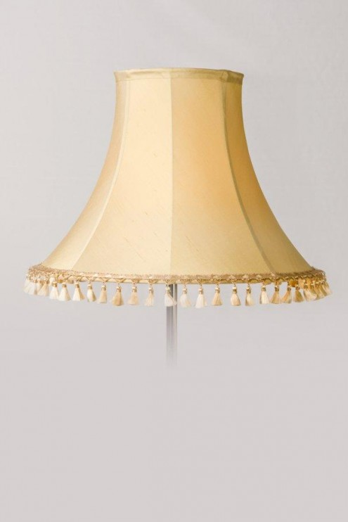 Pale Gold Silk Lamp Shade With Delicate Fringe Lamp Shades