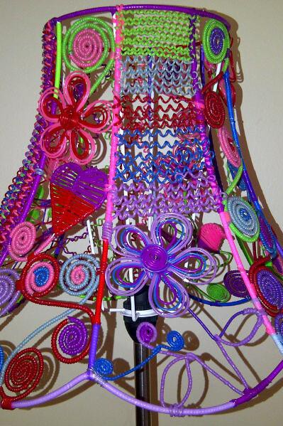 Colourful Wire And Beaded Lampshade Lamp Shades